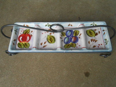 Heritage BLACK FOREST Fruits  4 Section Condiment Serving Tray/Bowl w Metal Rack