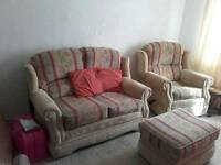 2 seater sofa, recliner armchair and foot stool
