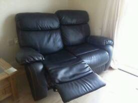 Black two seater Real leather manual recliner sofa