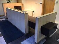 Beech/Walnut Veneer Modern Large Reception Desk