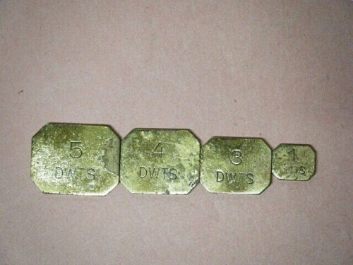 Vintage 4 Brass Apothecary Chemists Scale Weights Hammel Riglander Germany