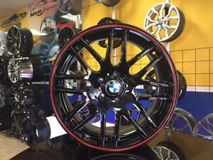 ENSEMBLE KIT MAGS ET PNEUS D'ÉTÉ BMW NEUFS 19'' STAGGERED BLACK RED LIP
