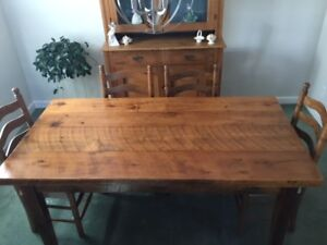 Six-Foot Long Pine Harvest Table With  6 Dining Chairs