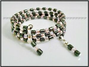 █ PINK CRYSTAL HEMATITE ONE SIZE BEAD MEMORY WIRE NEW BRACELET