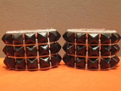 - New 2 Tone White Leather Pyramid Bracelet Cuffs Wristbands Black Metal Studded S