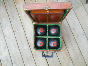 antique lawn bowling bowls/balls in antique wooden box London Ontario image 5