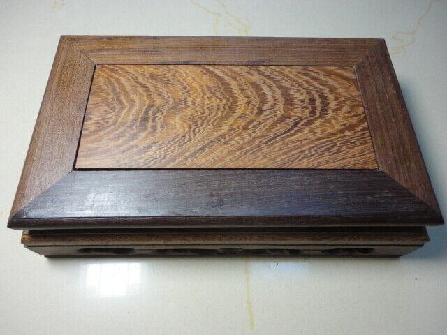 "CHINA BLACK HARDWOOD NICE CARVED Rectangle BONSAI POT/VASE STAND 190mm 7.6""u3"