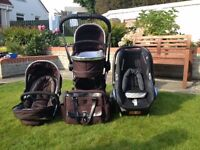 iCandy carrycot and pushchair, Maxicosi car seat and isofix base