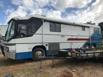 Motorhome and car trailer