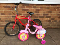 2 FREE bikes! Small pink bike/stabilisers, & a small bike needing a puncture repair & checkover