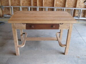 FOR SALE VINTAGE BUTCHER BLOCK TABLE OPEN TO BEST OFFER