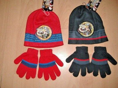 CAPTAIN AMERICA HAT AND GLOVES SET BOYS APPROX AGES 2-4 4-8 YEARS ()