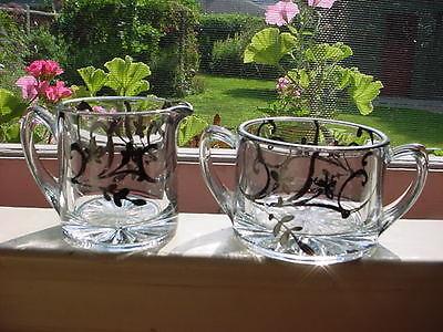 Vintage Glass Cream and Sugar Set with Dark Silver Design