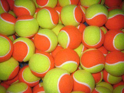 12 USED SOFT TENNIS BALLS - ORANGE - SHORT TENNIS / COACHING  - FREE POSTAGE