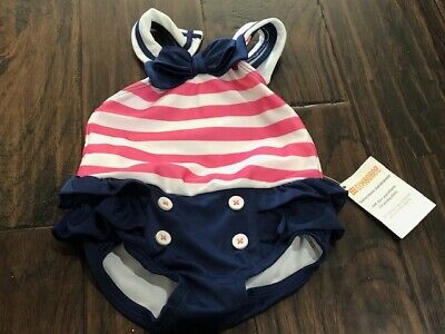 Baby Girl Sailor style Bathing suit 3-6 Months blue white pink bow ruffle