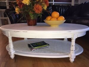 Beautiful Oval White Shabby Chic Wood Coffee Table - Asking $175