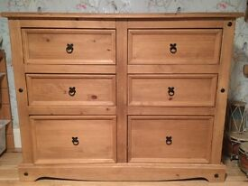 Solid Wood 6 Draw Chest For Sale