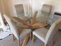 Round Glass Top, Criss Cross Oak Leg Dining Table only! Not chairs