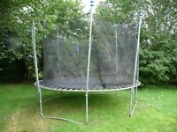 Garden Trampoline - 3.6m wide - good condition with 1.8m high safty net - must see