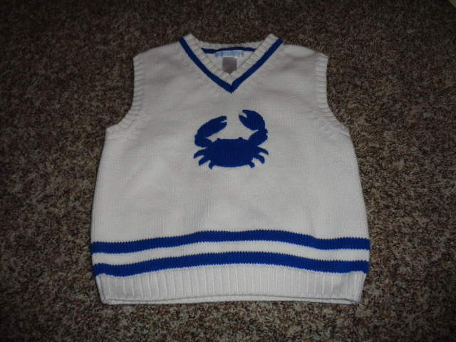 JANIE AND JACK 4 WHITE AND BLUE CRAB HARBOR SWEATER VEST