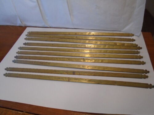 "SET OF 10 BRASS STAIR RODS URN FINIAL STYPE ENDS 24"" LONG"