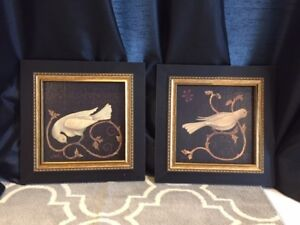 NEW PRICE: Beautiful Bird Prints in Gold Frames