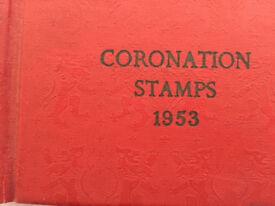 Rare Queen Elizabeth Coronation 1953 Stamp album, over 130 stamps