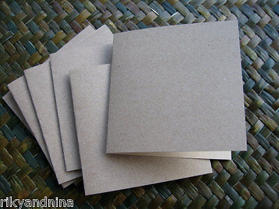 """10pc eco friendly recycled 4X4"""" square KRAFT brown CARDMAKERS card blanks party"""