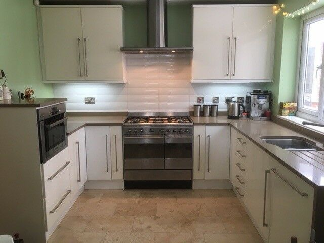 White Gloss Kitchen With Glass Extractor Fan Best 25 Kitchen