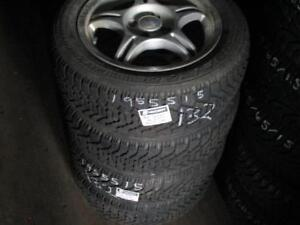 195/65 R15 GOODYEAR NORDIC WINTER TIRES ON ENKEI RIMS FOR HYUNDAI ACCENT USED SNOW TIRES (PAIR OF 4 - $360.00) - APPROX.