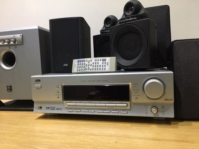 JVC 5.1 Surround Sound System 200W with 5 speakers and subwooferin Thornhill, CardiffGumtree - JVC 5.1 Surround Sound System with 2x40W JVC side speakers, 2x Warfdale surround sound speakers (with speaker stands), 1x JVC 70W central speaker, and Yamaha Advanced YST SW015 70W subwoofer (in original box). The JVC amplifier unit includes FM...