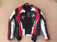 Mtech Red/White/Black Leather Motorcycle jacket