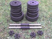 Dumbbell barbell Weights and Spinlock Bars 52 lb's 23.8 kg approx