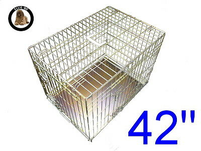 """Ellie-Bo 42"""" Extra Large Dog Puppy Pet Cage Folding Carrier Crate In Gold"""