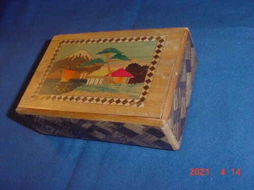 VINTAGE JAPANESE INLAID WOOD PUZZLE BOX