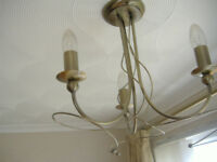 Antique gold effect 3 light semi flush Chandelier light fitting with candle style bulbs #2