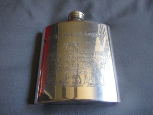 Vintage Pewter Flask Made in Sheffield England - Engraved - A Monkey