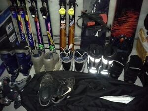 3 sets of skiis-2 sets of poles and set of size 10 boots