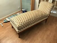 Cream chaise lounger/couch/sofa with wooden legs & base with lion logo print