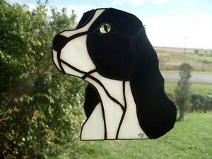 stained glass suncatcher dog : cocker vitrail Tiffany