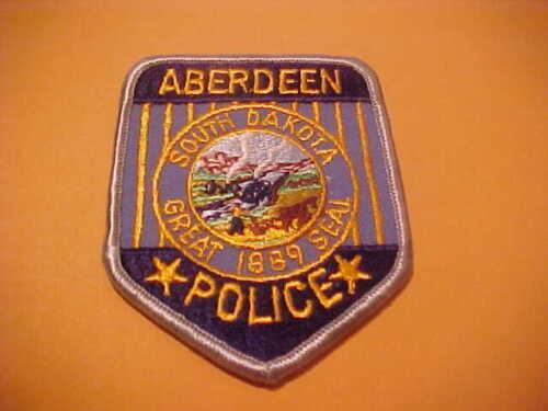 ABERDEEN SOUTH DAKOTA POLICE PATCH SHOULDER SIZE NEW  TYPE 2     3 3 /4 X 3 INCH