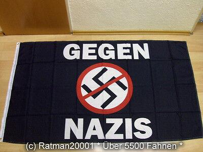 Fahnen schwarz Motiv gegen Nazis crushed swastika 90x150 cm