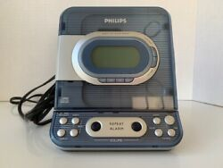 Philips Blue CD Clock Radio Model AJ3977 Pre-Owned Tested and Working