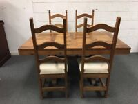 Pine Table & 4 Chairs. Beautiful Waxed Finish Refectory Style Table.