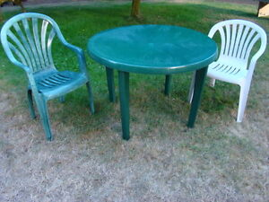 42 inch Resin Patio Table with two Chairs