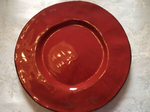 4 PIER 1 NUEVO ORGANIC ROSSO DINNER PLATES IMPORTED FROM ITALY