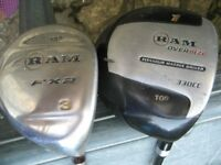 2 x GOLF CLUBS, RAM OVERSIZE DRIVER & TITANIUM MATRIX DRIVER 13 DEGREES NO 3 WITH COVERS