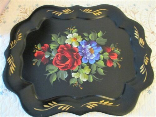 Near Mint Hand Painted Red & Blue Roses Vintage Black Chippendale Tole Tray