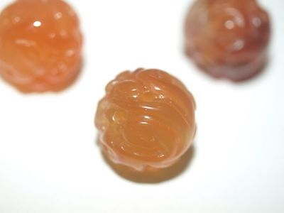 Vintage Carved Chinese Carnelian Orange Agate Round Bead Wind Dragon Design 15mm