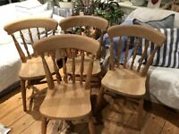 4 Farmhouse Spindle Back Chairs